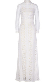Lover Harmony paneled cotton-blend lace gown