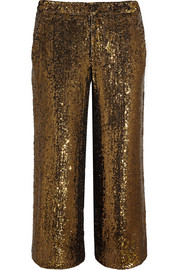 Collection cropped sequined silk wide-leg pants