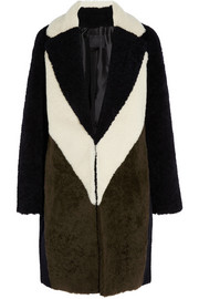 Collection color-block shearling coat