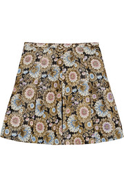 Collection silk organza-paneled metallic jacquard mini skirt