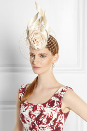 Philip Treacy Buntal scroll and rose-embellished parasisal headpiece
