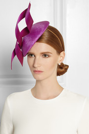 Philip Treacy Buntal scroll-embellished parasisal hat