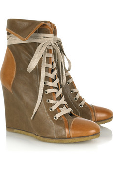 Chloé Leather lace-up wedge boots