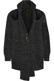 Cutout chunky-knit cotton cardigan