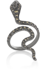 Ileana Makri 18-karat blackened white gold, ruby and diamond snake ring