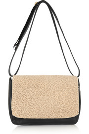 Clare V Louise shearling and leather shoulder bag