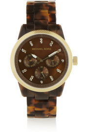 Michael Kors Ritz gold-tone stainless steel and acetate watch