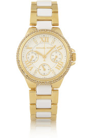 Michael Kors Camille crystal-embellished gold-tone stainless steel and acetate watch