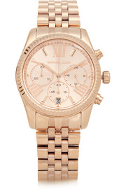 Michael Kors Lexington rose gold-tone stainless steel chronograph watch