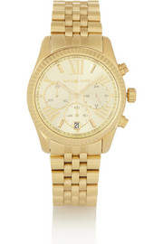 Michael Kors Lexington gold-tone stainless steel chronograph watch