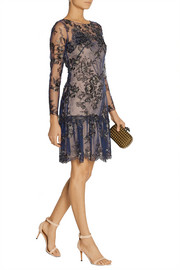 Notte by Marchesa Appliquéd tulle mini dress