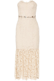 Strapless embellished lace midi dress
