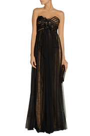 Notte by Marchesa Embellished layered tulle and lace gown