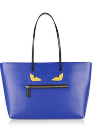 Buggies appliquéd textured-leather tote