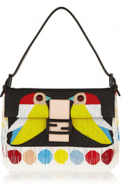 Baguette beaded twill shoulder bag