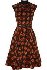 Finds + Talbot Runhof embellished printed stretch-corduroy dress