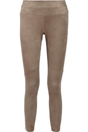 Stretch-suede skinny pants
