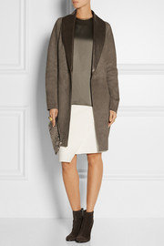 Suede and glossed-leather coat
