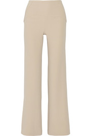 Paneled stretch-cady wide-leg pants