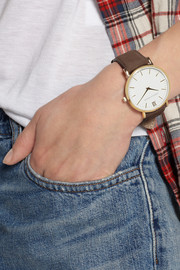 Larsson & Jennings Läder leather and gold-plated watch