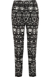 Blurred Ikat printed satin-twill tapered pants