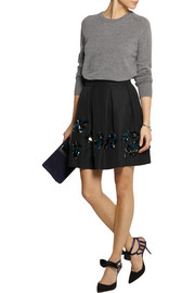 Collection embellished cotton-blend faille mini skirt