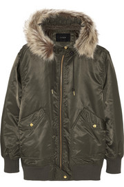 Faux fur-trimmed hooded shell bomber jacket