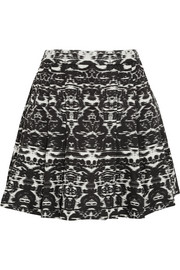 Blurred Ikat printed satin-twill mini skirt