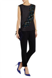 J.Crew Collection embellished wool-gabardine top