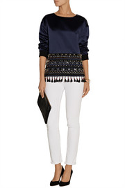 J.Crew Embellished duchesse-satin top