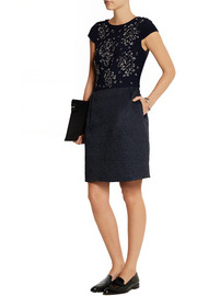 Nell embellished crepe and tweed dress