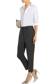 J.Crew Ludlow sequin-paneled stretch-wool straight-leg pants