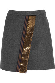 Origami sequin-paneled felt mini skirt