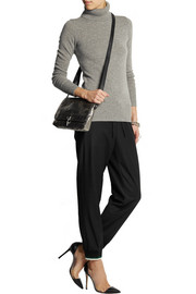 Drapey stretch wool-blend tapered pants