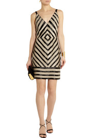 Collection Chevron embellished crepe dress
