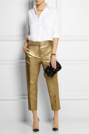 J.Crew Ludlow metallic linen-blend tapered pants