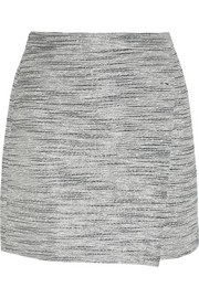 Origami wrap-effect metallic tweed mini skirt