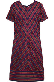 Collection chevron-striped silk-satin dress