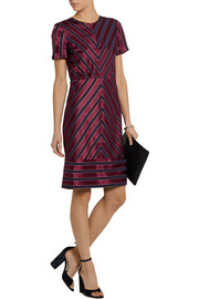 J.Crew Collection chevron-striped silk-satin dress