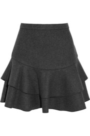 Flounce bonded felt mini skirt