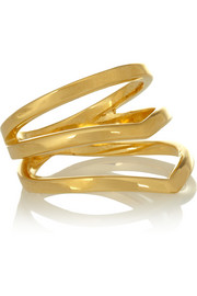 Arme De L'Amour Chevron gold-plated phalanx ring