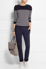 Petit Bateau Striped buttoned cotton sweater