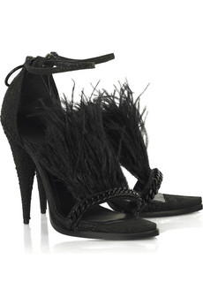 Givenchy | Urania feather and leather sandals | NET-A-PORTER.COM :  sale shoe desiger
