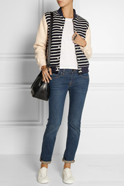 Petit Bateau Faux shearling-lined striped cotton-jersey jacket