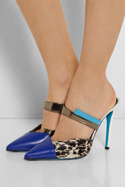 Printed calf hair and leather mules