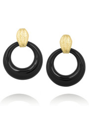 David Webb Doorknocker 18-karat gold onyx clip earrings