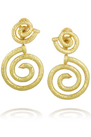 David Webb Spiral Nail 18-karat gold clip earrings