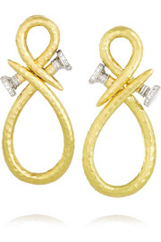 David Webb Infinity Nail 18-karat gold, platinum and diamond clip earrings