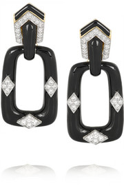 David Webb 18-karat gold, enamel and diamond earrings