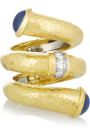 David Webb Double Tip Nail 18-karat gold, sapphire and diamond ring